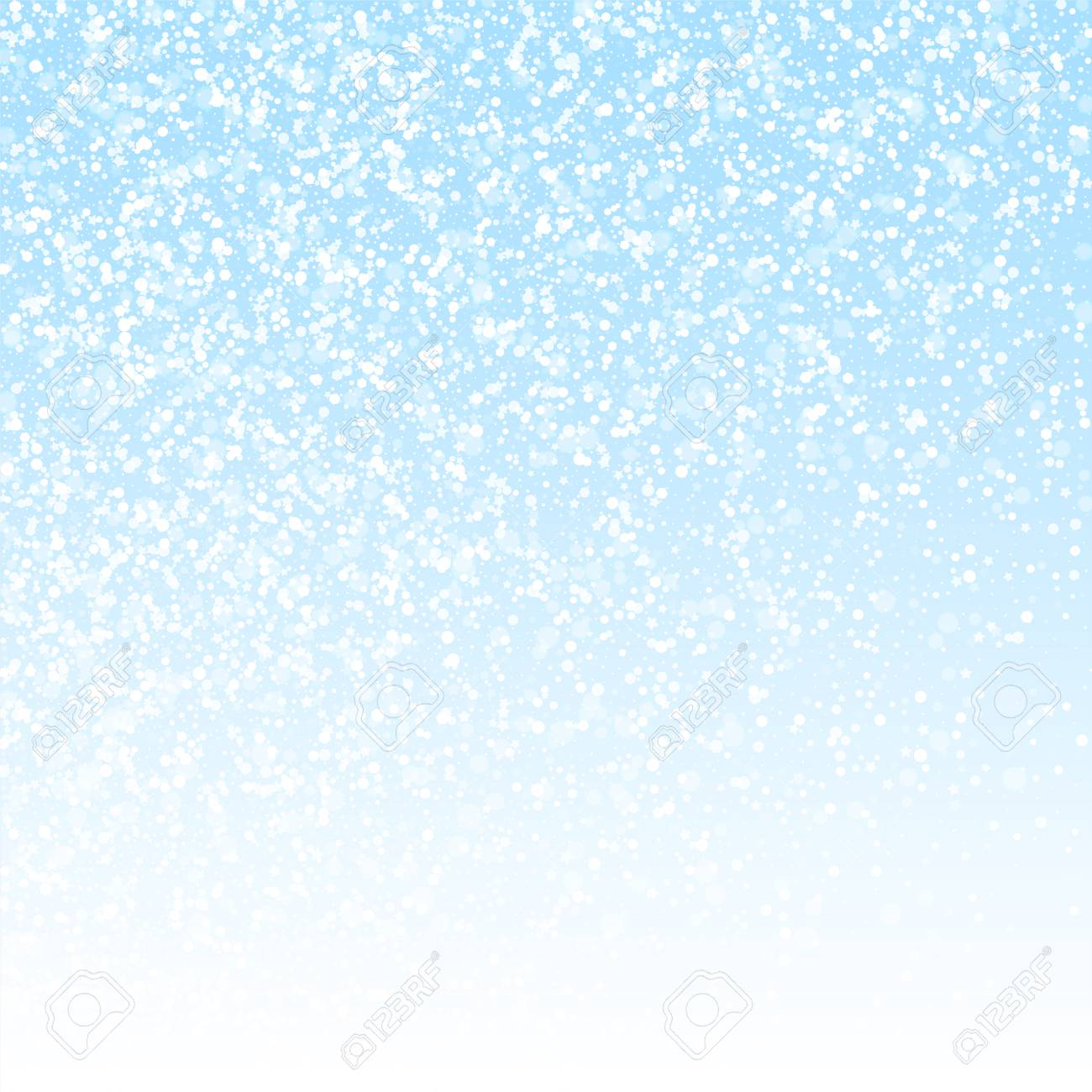Magic stars Christmas background. Subtle flying snow flakes and stars on winter sky background. Awesome winter silver snowflake overlay template. Ravishing vector illustration. - 126653114