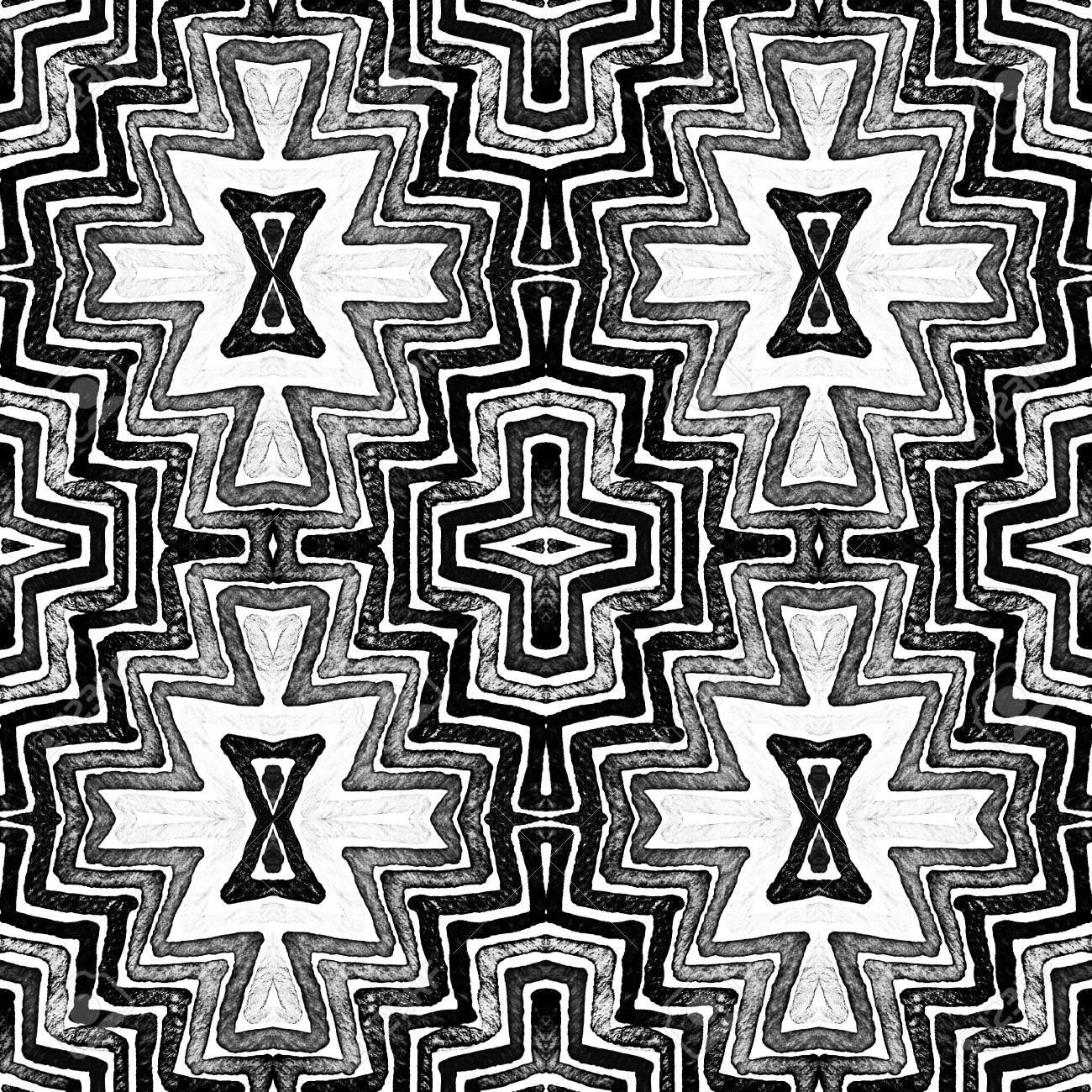 Dark Black And White Geometric Watercolor Decent Seamless Pattern