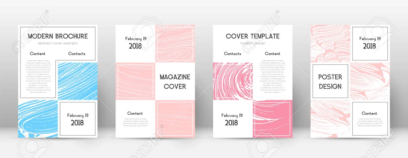 Cover page design template. Business brochure layout. Bewitching trendy abstract cover page. Pink and blue grunge texture background. Appealing poster. - 126653748