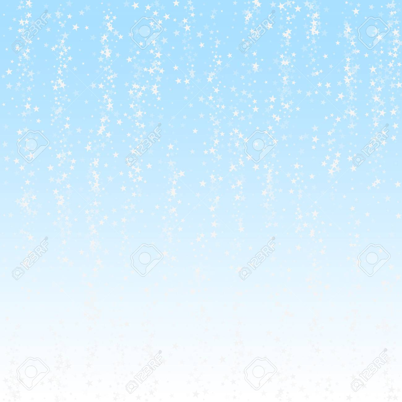 Amazing falling stars Christmas background. Subtle flying snow flakes and stars on winter sky background. Awesome winter silver snowflake overlay template. Fabulous vector illustration. - 126654834