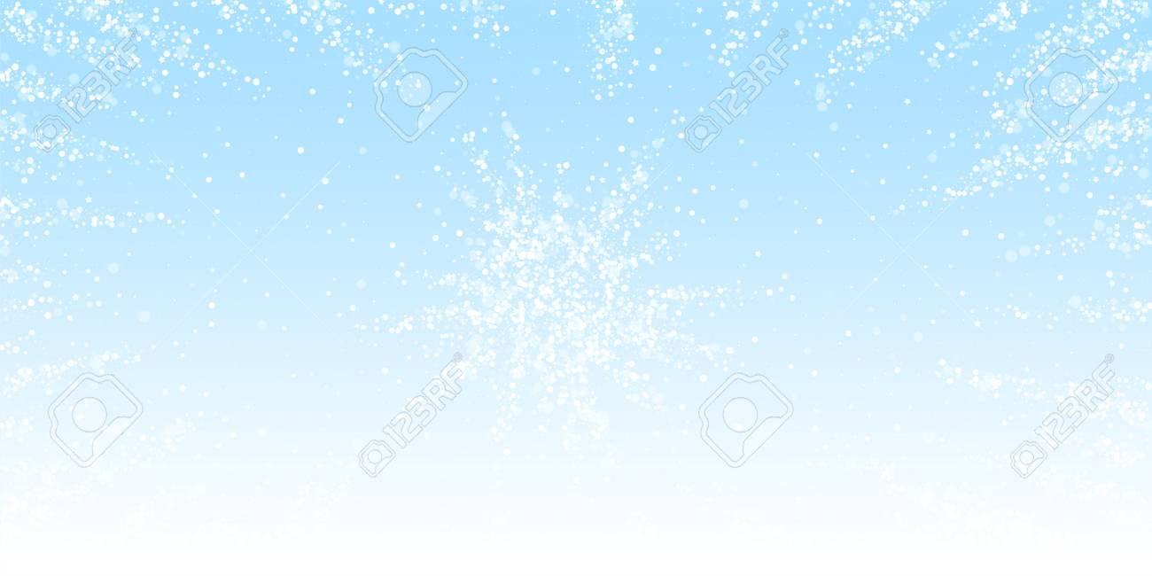Magic stars Christmas background. Subtle flying snow flakes and stars on winter sky background. Appealing winter silver snowflake overlay template. Wondrous vector illustration. - 126655144