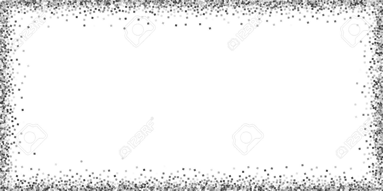 Silver glitter luxury sparkling confetti. Scattered small gold particles on white background. Bold festive overlay template. Rare vector illustration. - 125886374