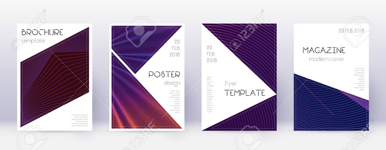 Triangle brochure design template set. Violet abstract lines on dark background. Brilliant brochure design. Appealing catalog, poster, book template etc. - 119563221