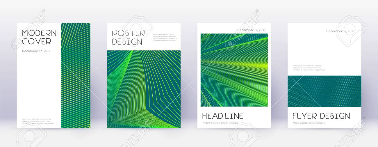 Minimal brochure design template set. Green abstract lines on dark background. Appealing brochure design. Memorable catalog, poster, book template etc. - 123401598