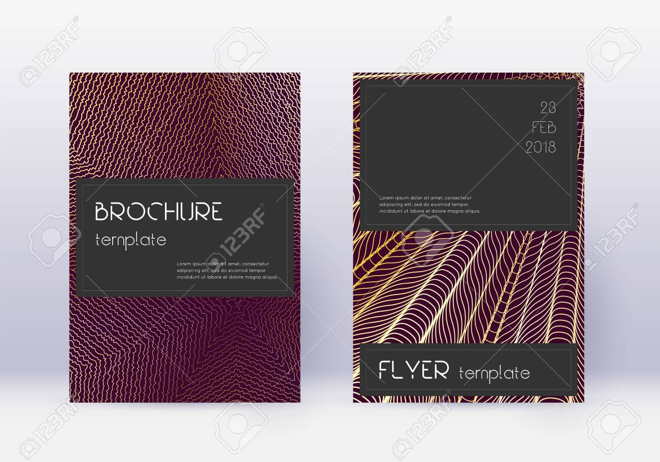 Black cover design template set. Gold abstract lines on maroon background. Alluring cover design. Energetic catalog, poster, book template etc. - 143579957