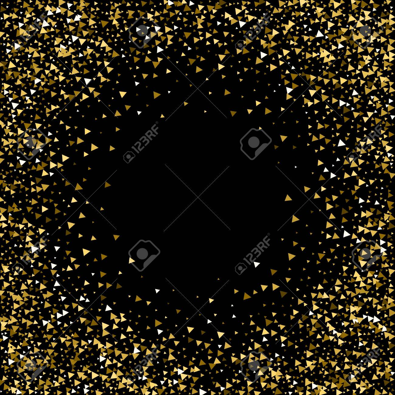 Gold triangles luxury sparkling confetti. Scattered small gold particles on black background. Appealing festive overlay template. Tempting vector illustration. - 144573806