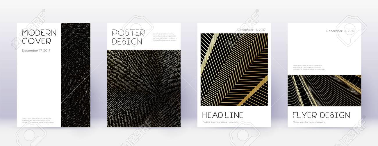 Minimal brochure design template set. Gold abstract lines on black background. Appealing brochure design. Captivating catalog, poster, book template etc. - 149951408