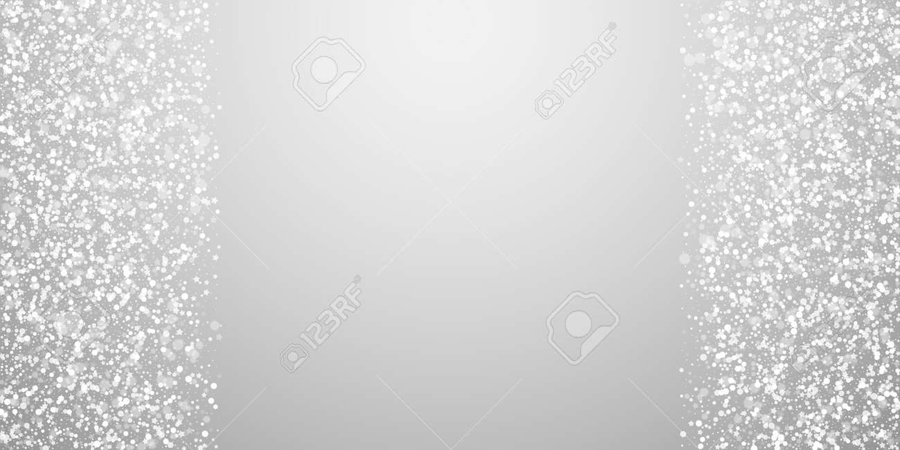 Magic stars sparse Christmas background. Subtle flying snow flakes and stars on light grey background. Appealing winter silver snowflake overlay template. Decent vector illustration. - 154061963