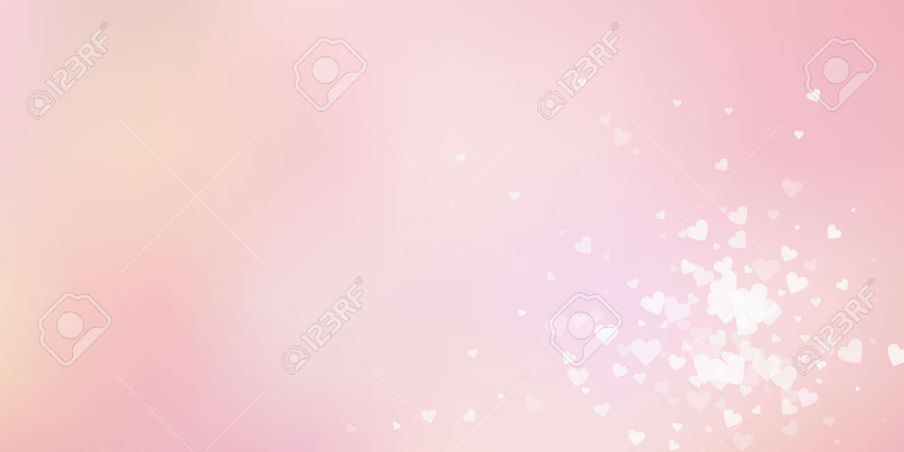 White heart love confettis. Valentines day explosion actual background. Falling transparent hearts confetti on color transition background. Divine vector illustration. - 165585023