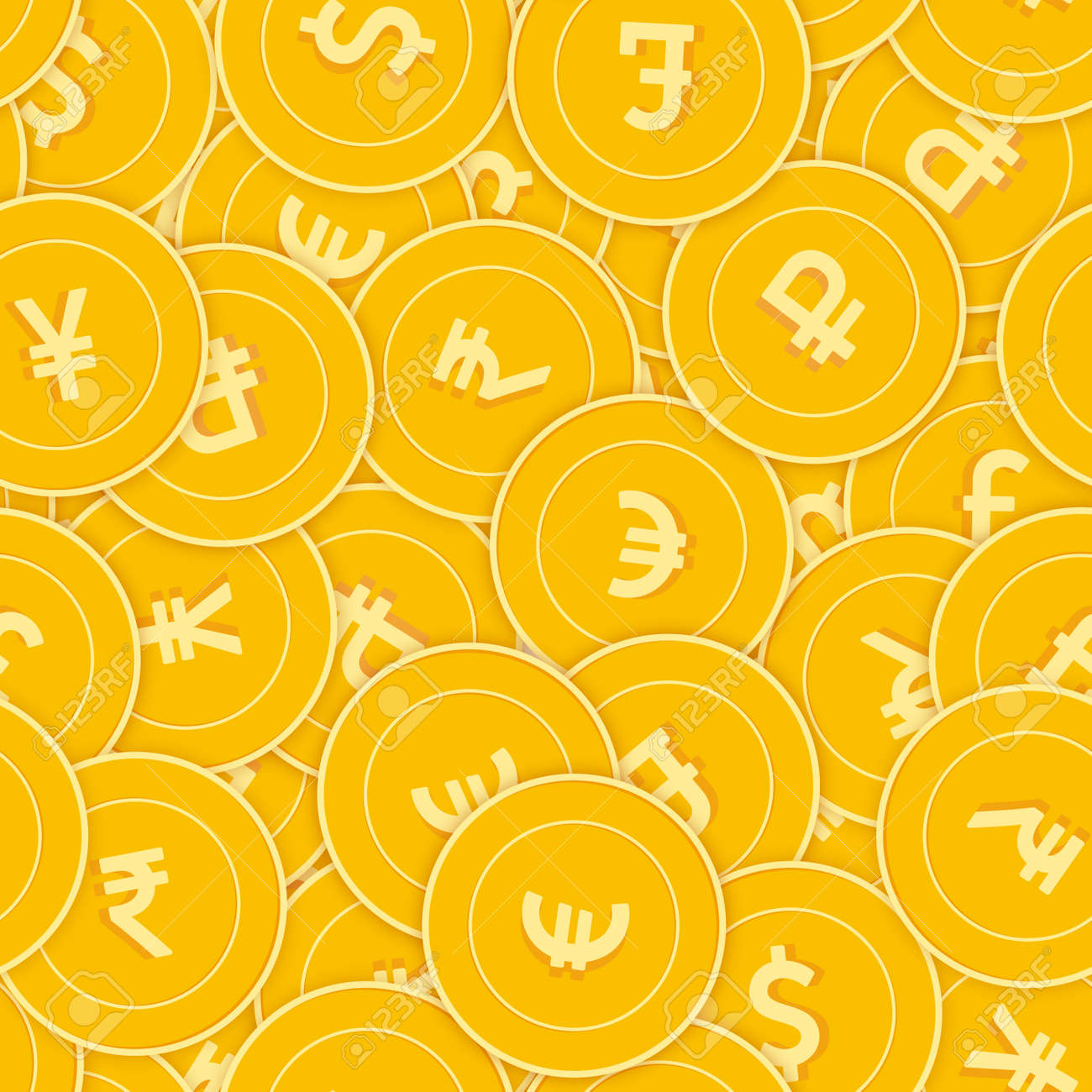 International currencies coins seamless pattern. Appealing scattered Global coins. Big win or success concept. World chaotic shadow money pattern. Coin tile vector illustration. - 166133594