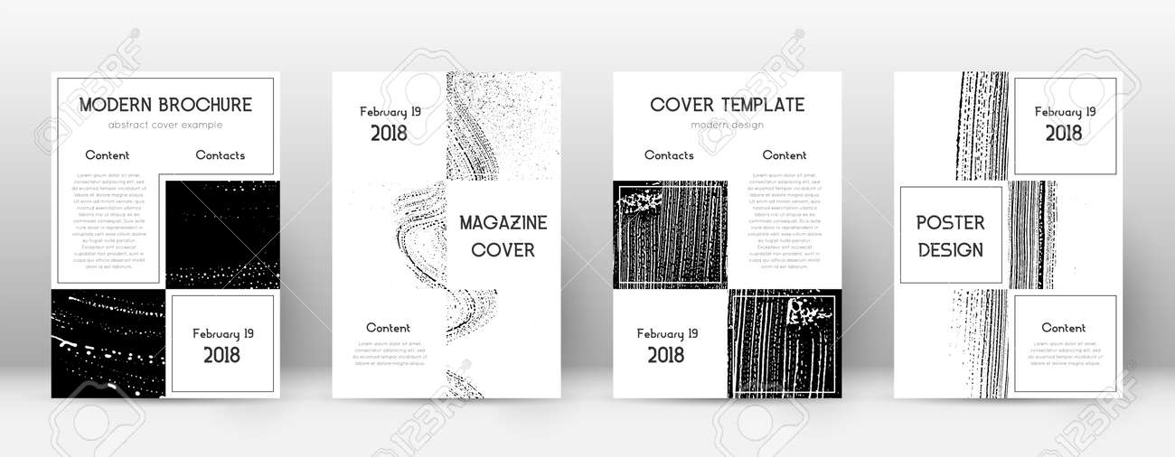 Cover page design template. Business brochure layout. Beautiful trendy abstract cover page. Black and white grunge texture background. Imaginative poster. - 165176335