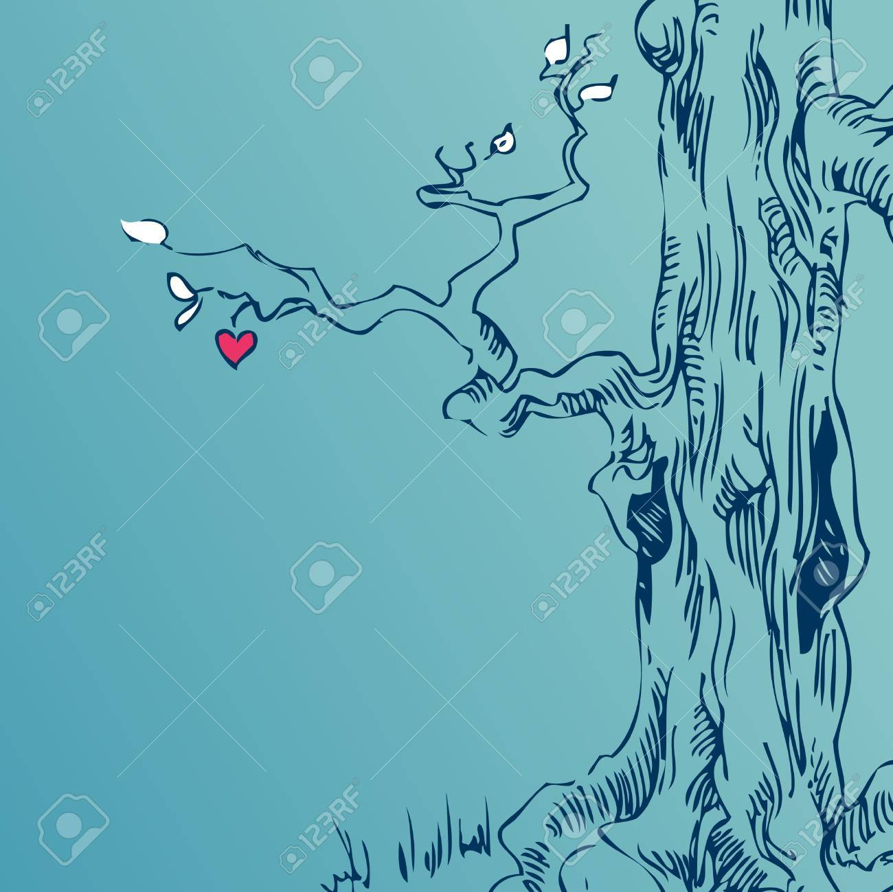 hand drawn tree on blue background Stock Vector - 9159872