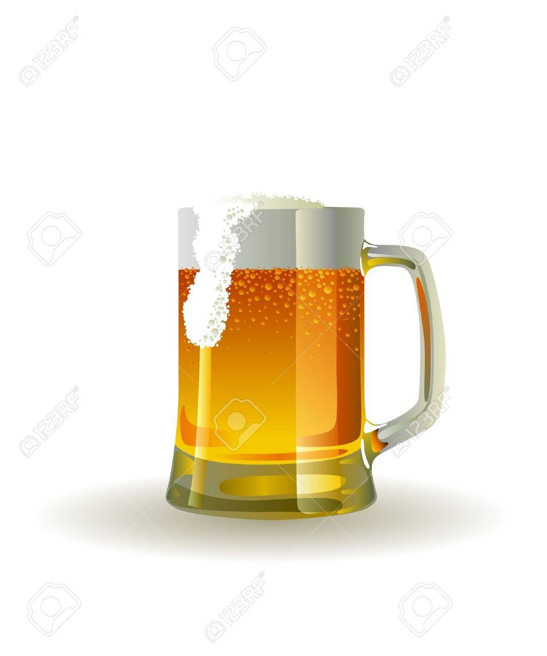 Beer mug with froth over white background Stock Vector - 10038870