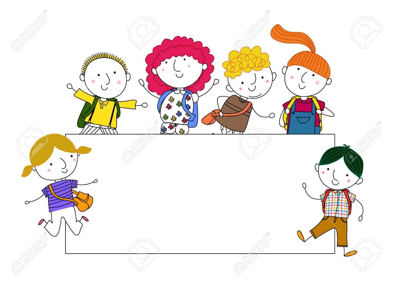 Niños De Dibujos Animados Lindo Jugar Y Marco Ilustraciones ...