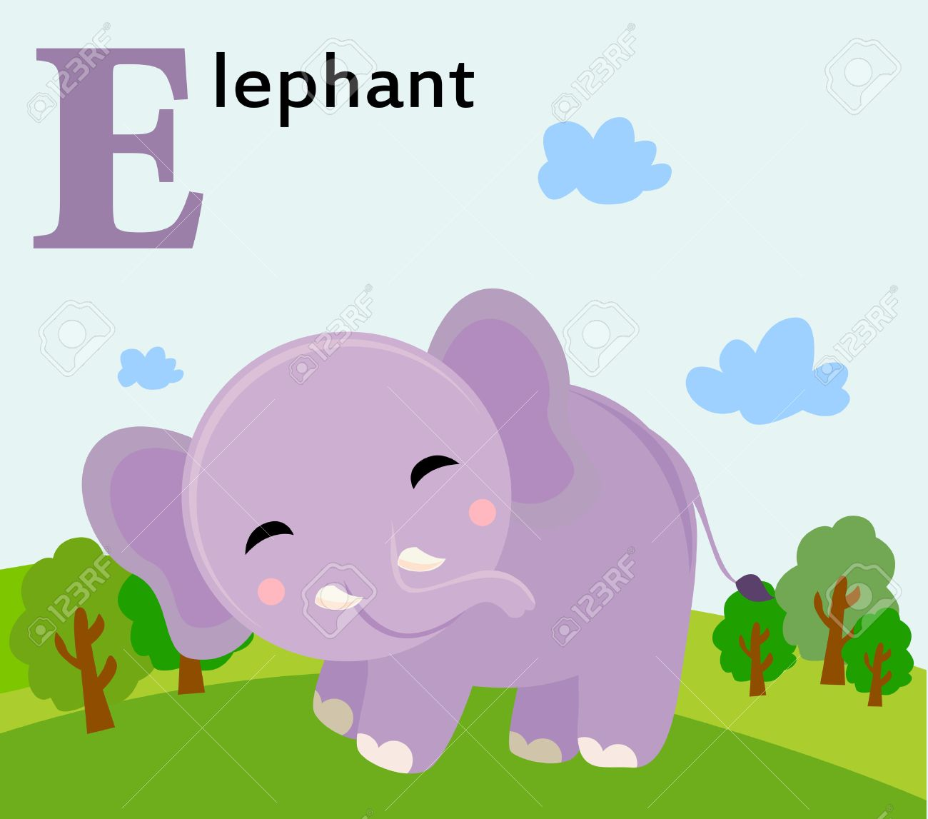 animal alphabet for the kids e for the elephant royalty free