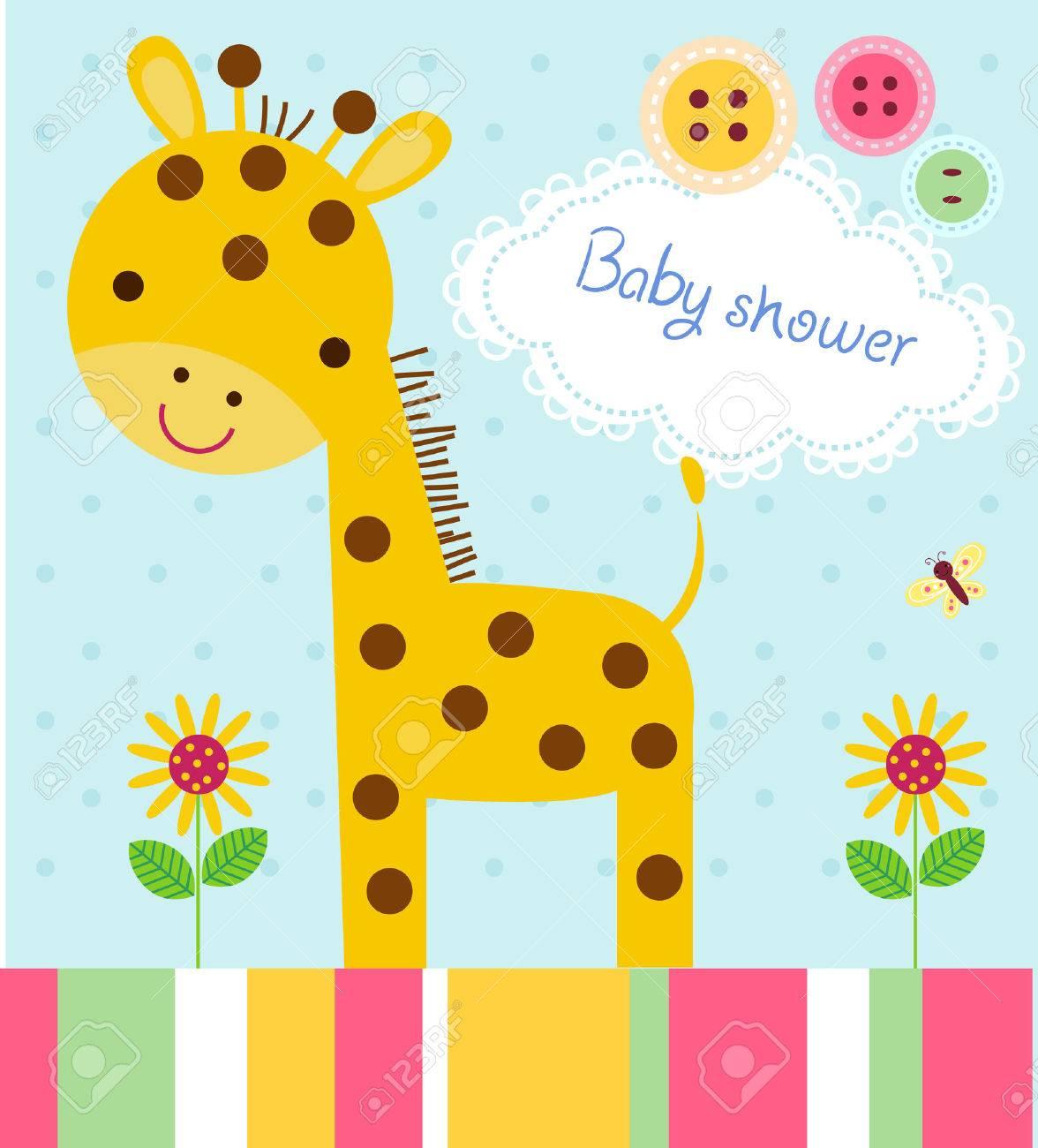 Tarjeta Linda De La Invitación Del Cumpleaños De Bienvenida Al Bebé Con La Jirafa