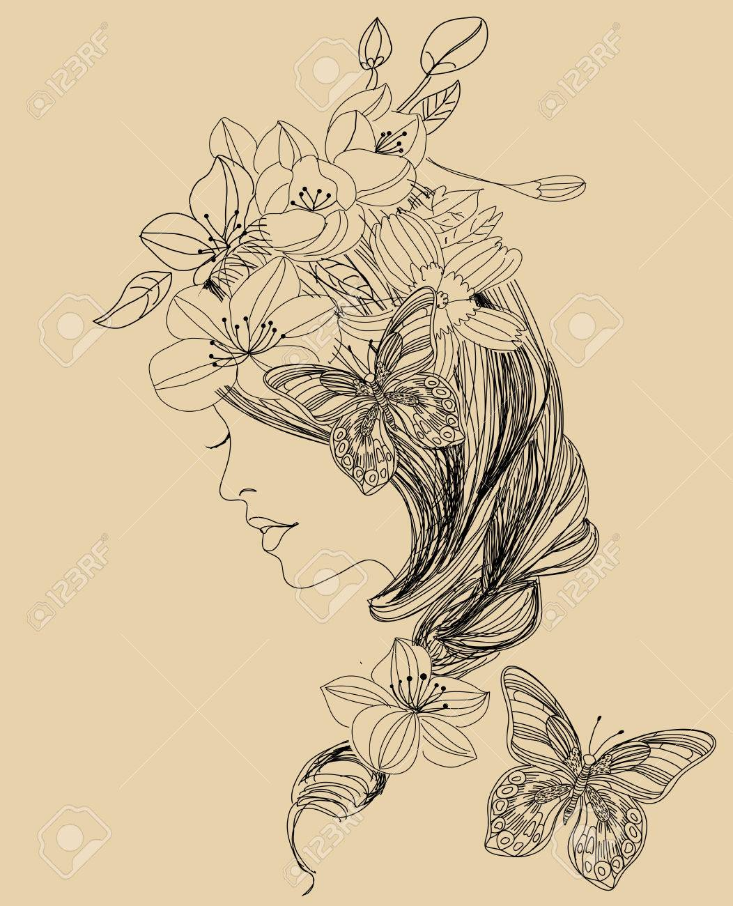 Pretty Girl And Flower Royalty Free Cliparts Vectors And Stock