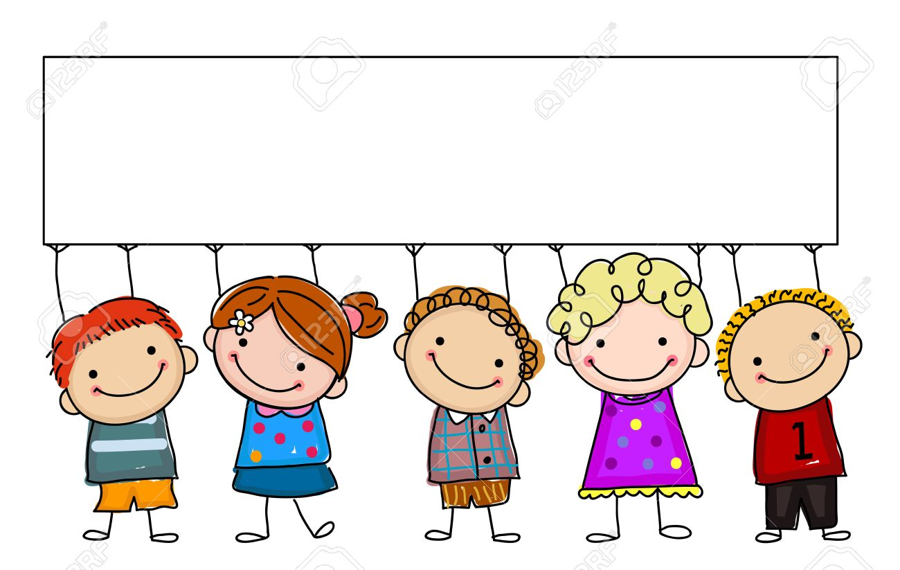 sketch kids with banner stock vector 44612973 - Sketch Images For Kids
