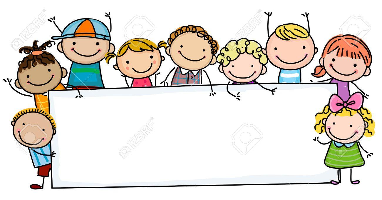 Sketch children and banner - 41175588