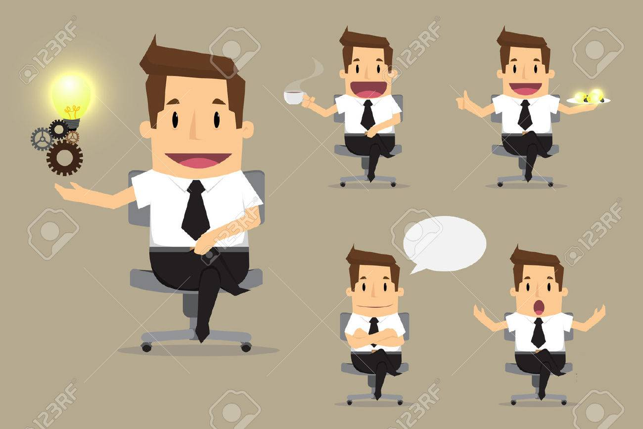 set of cute characters businessman and office worker poses in various.vector - 40054126