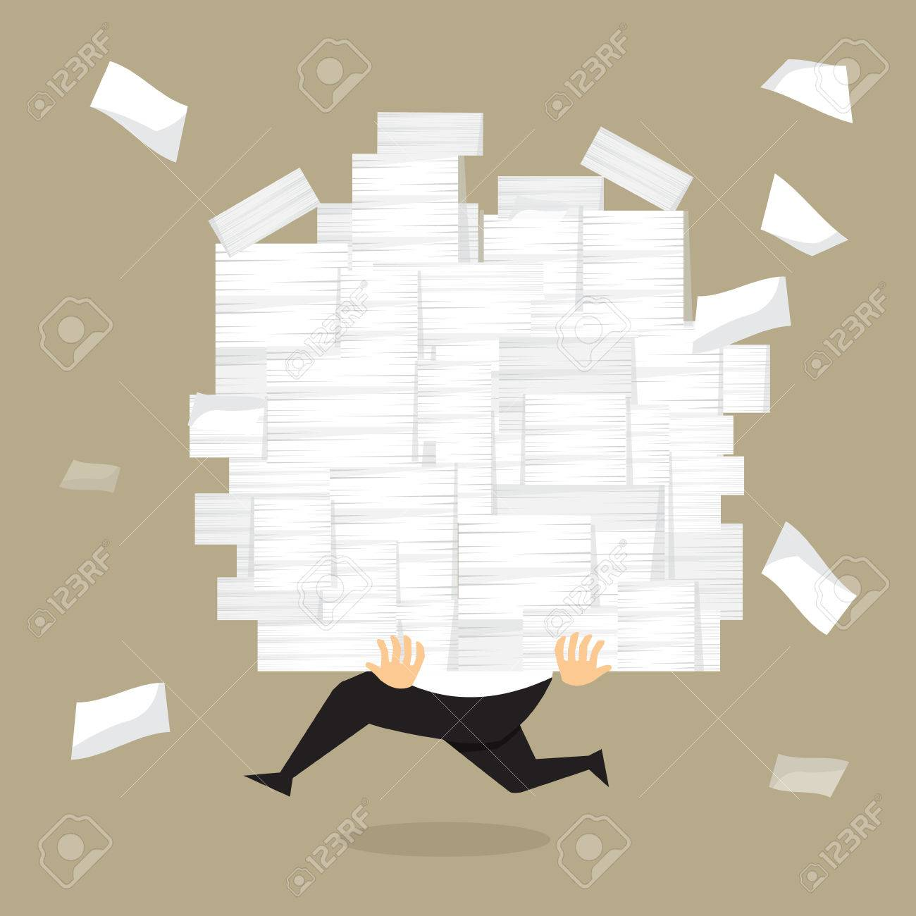 Businessman run holding a lot of documents in his hands.vector - 40245382