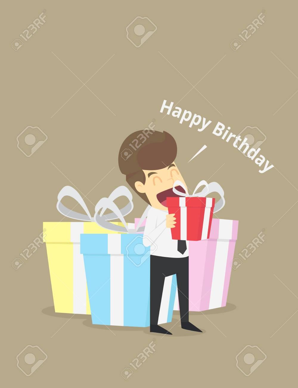 Businessman In Big Gift Box Happy BirthdayVECTOR Stock Vector