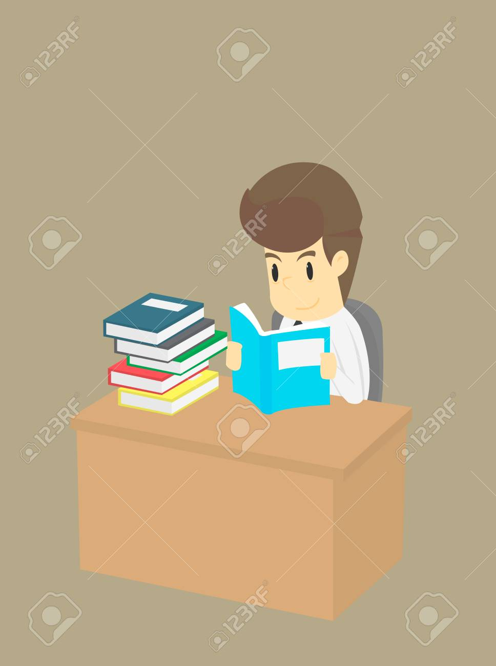 Businessman Read A Pile Of Book Business Young Cartoon Happiness