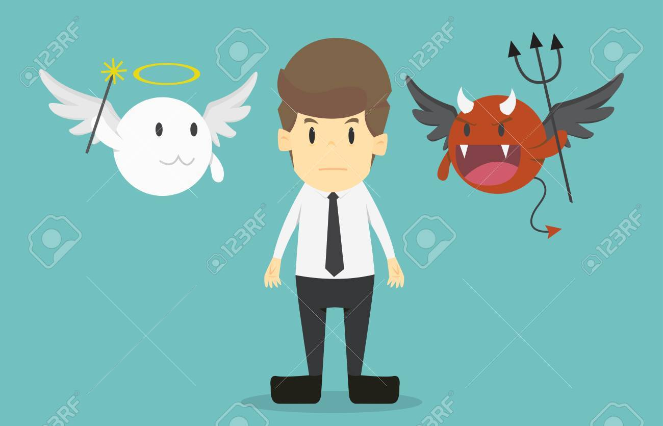 businessman with angel and devil on his shoulders cartoon of rh 123rf com Teacher Angel and Devil On Shoulder Angel vs Devil On Shoulder