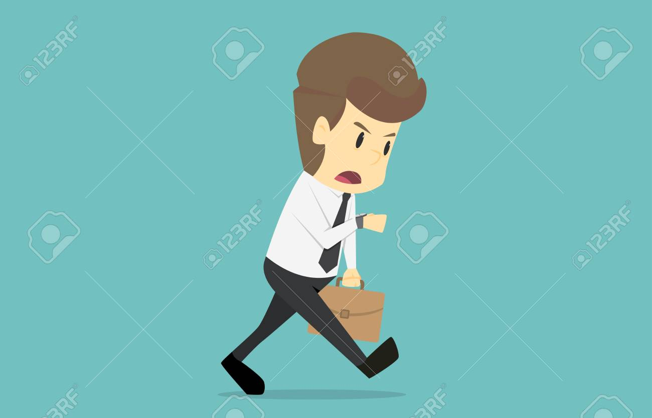 Businessman With The Briefcase Running Late Stressed And Looking