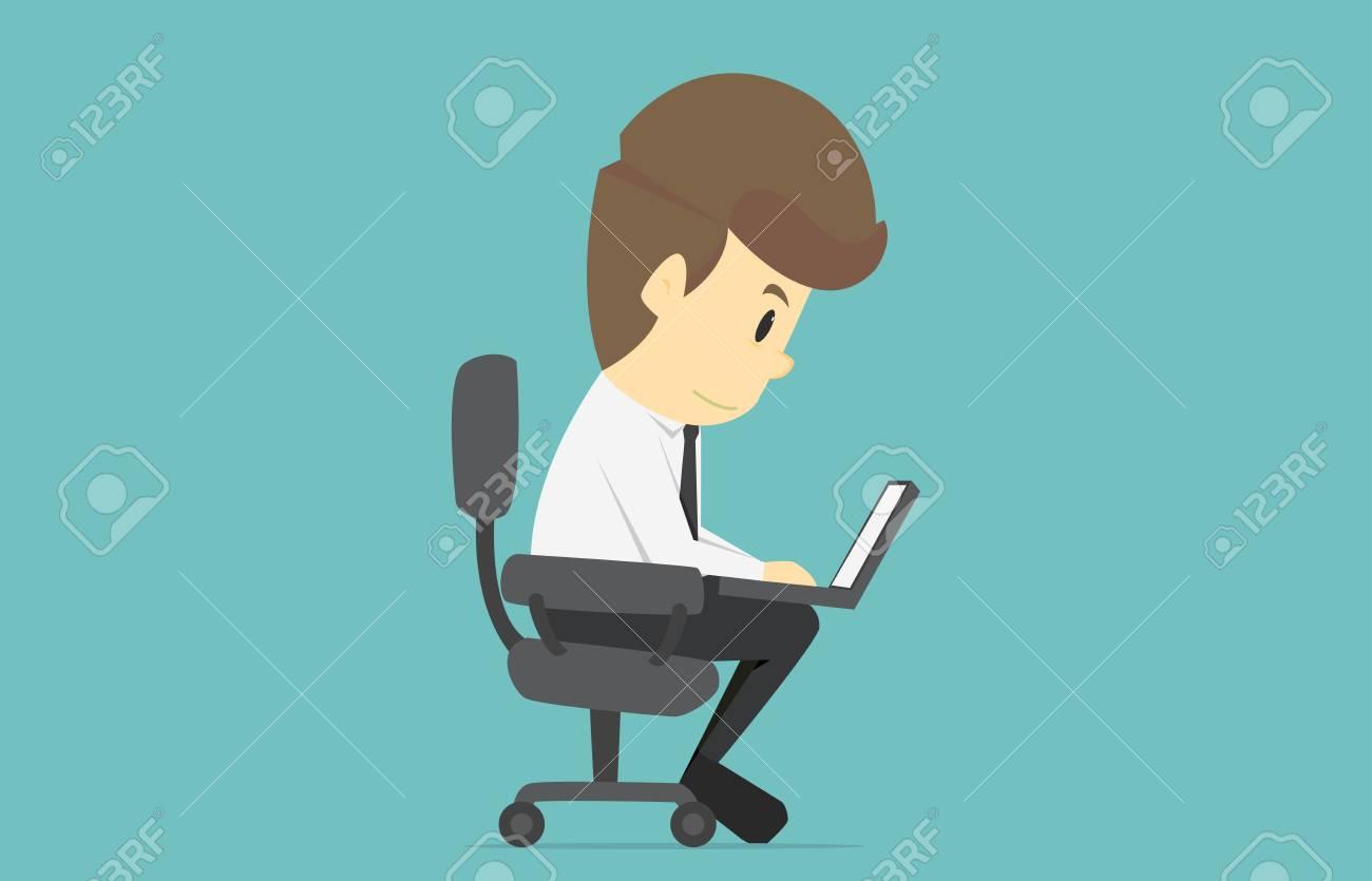 99de42b15 Hombre De Negocios Trabajando En La Computadora Portátil. Dibujos Animados  De éxito Empresarial Es El Concepto Del Negocio De Caracteres Del Hombre