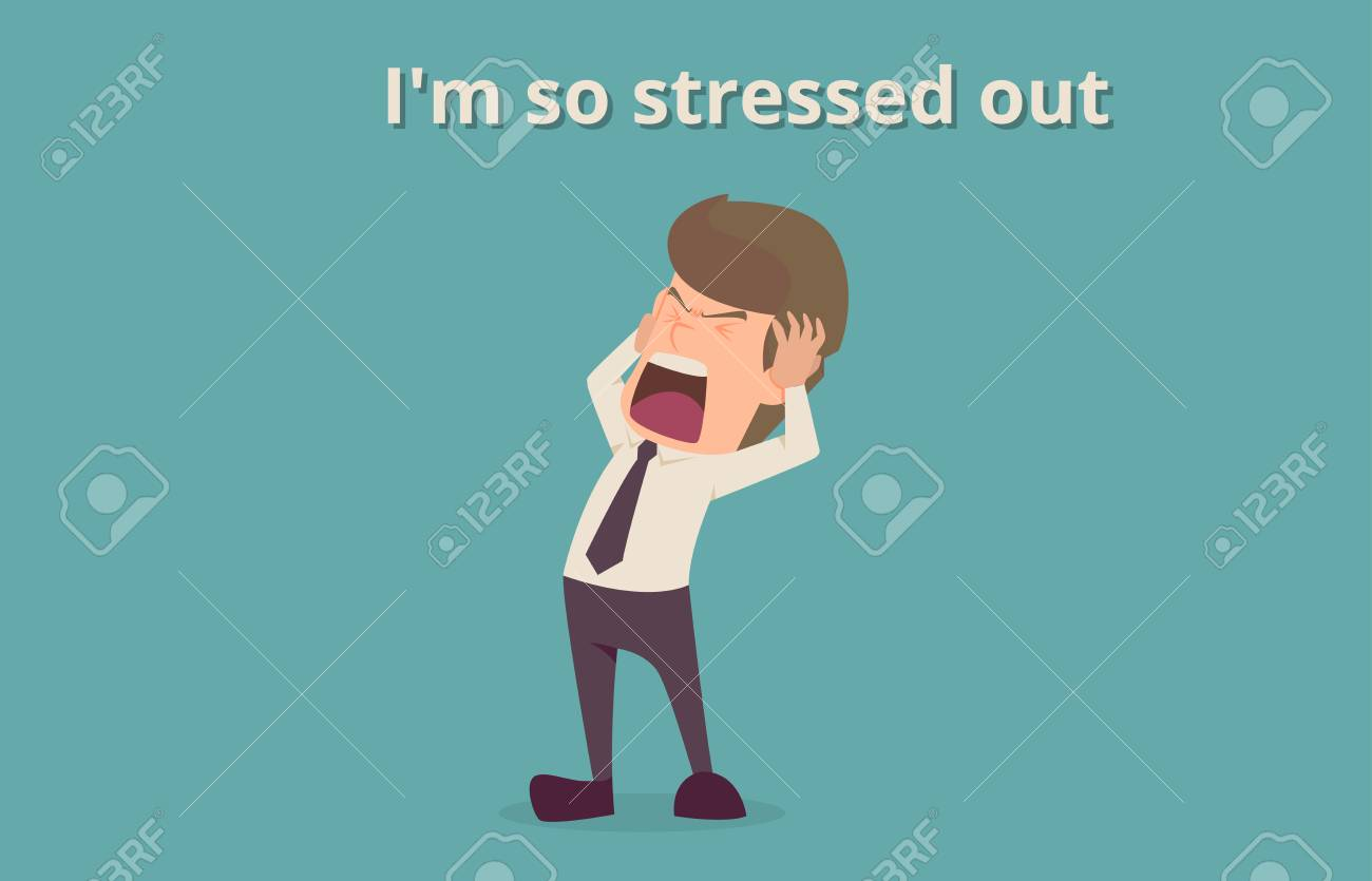 Businessman strain very headache on office table work hard, a cartoon illustration of business success concept, can be used as background of infographic banner. - 91508064
