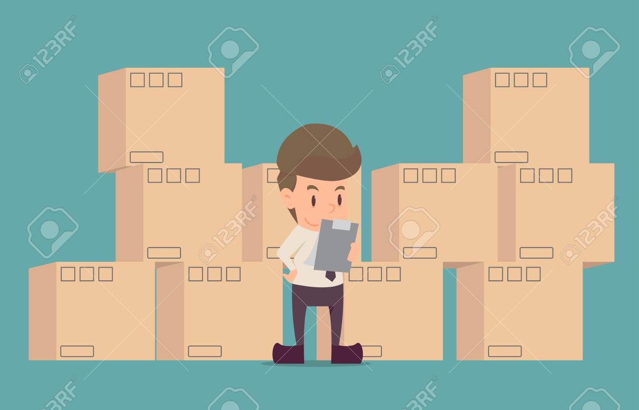 Businessman product Inspection.cartoon of business success is the concept of the man characters business, the mood of people, can be used as a background, banner, infographic. illustration vector - 91385323