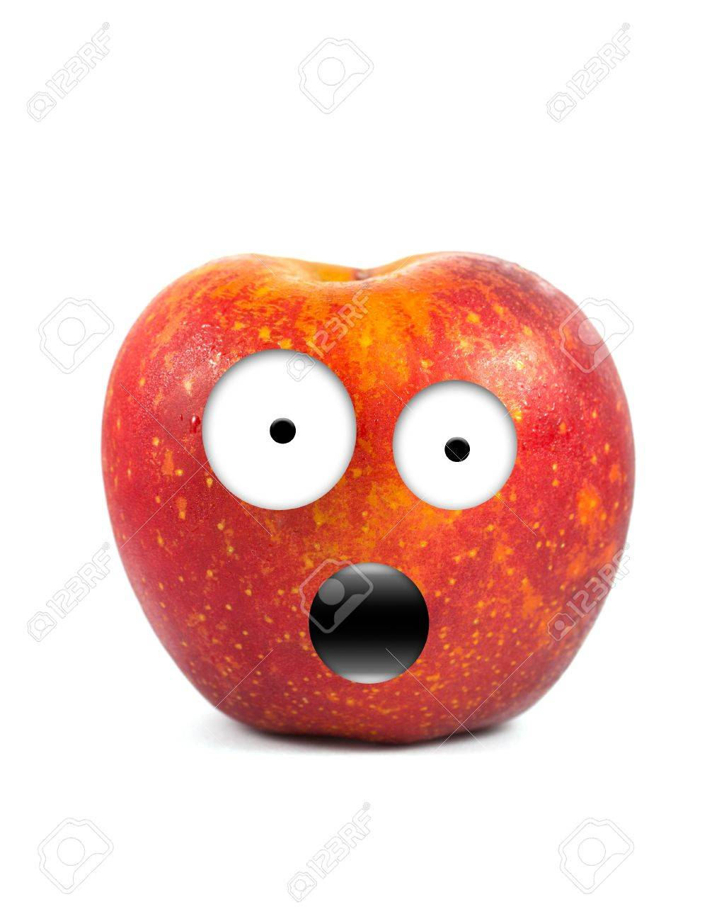 Funny fruit character Red Apple on white background Stock Photo - 16194859