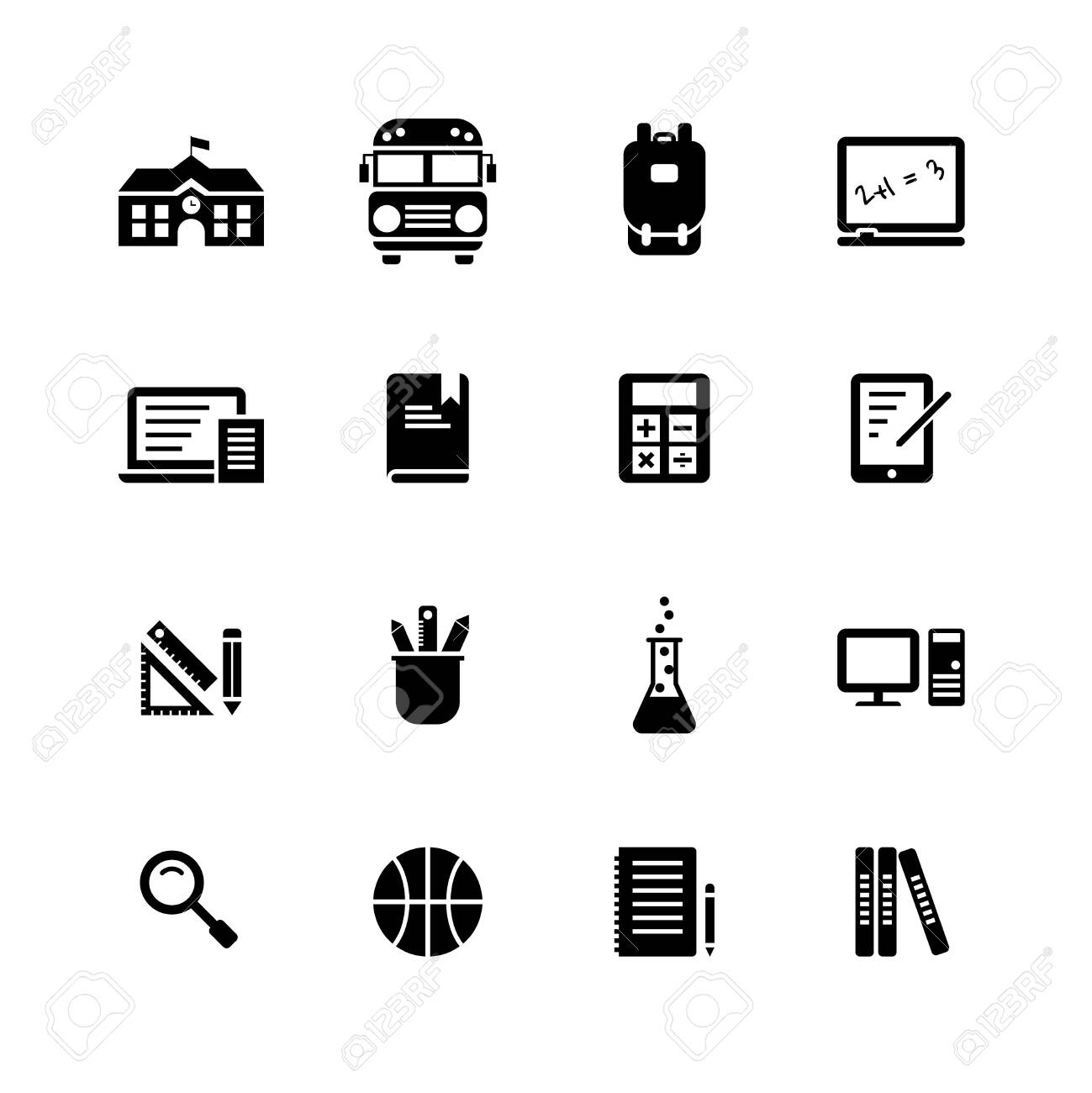 School Elements solid icon set on white background. - 126016413