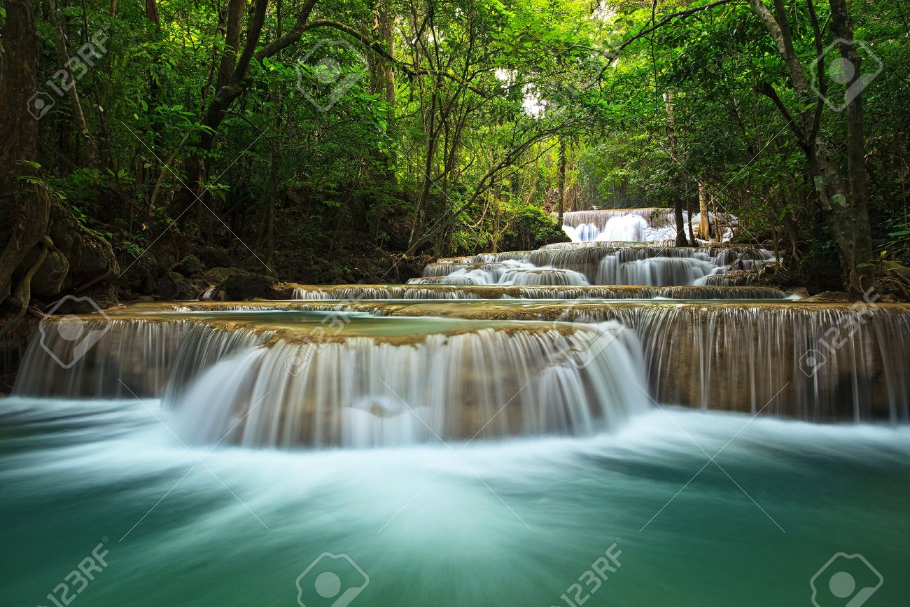 waterfall in thai national park. In the deep forest on mountain. - 14672093