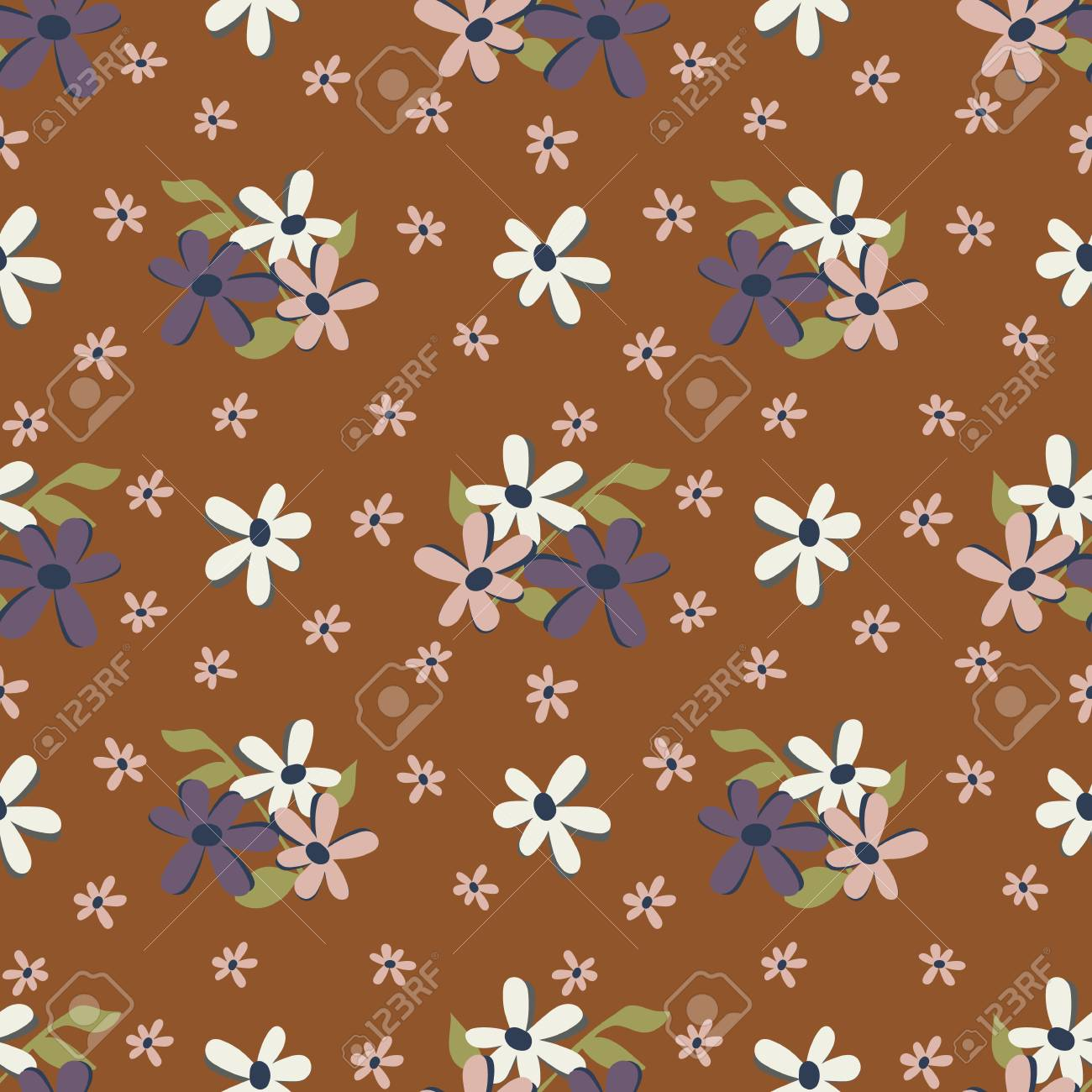 Seamless Repeat Cute Daisy Floral Pattern With Rust Background