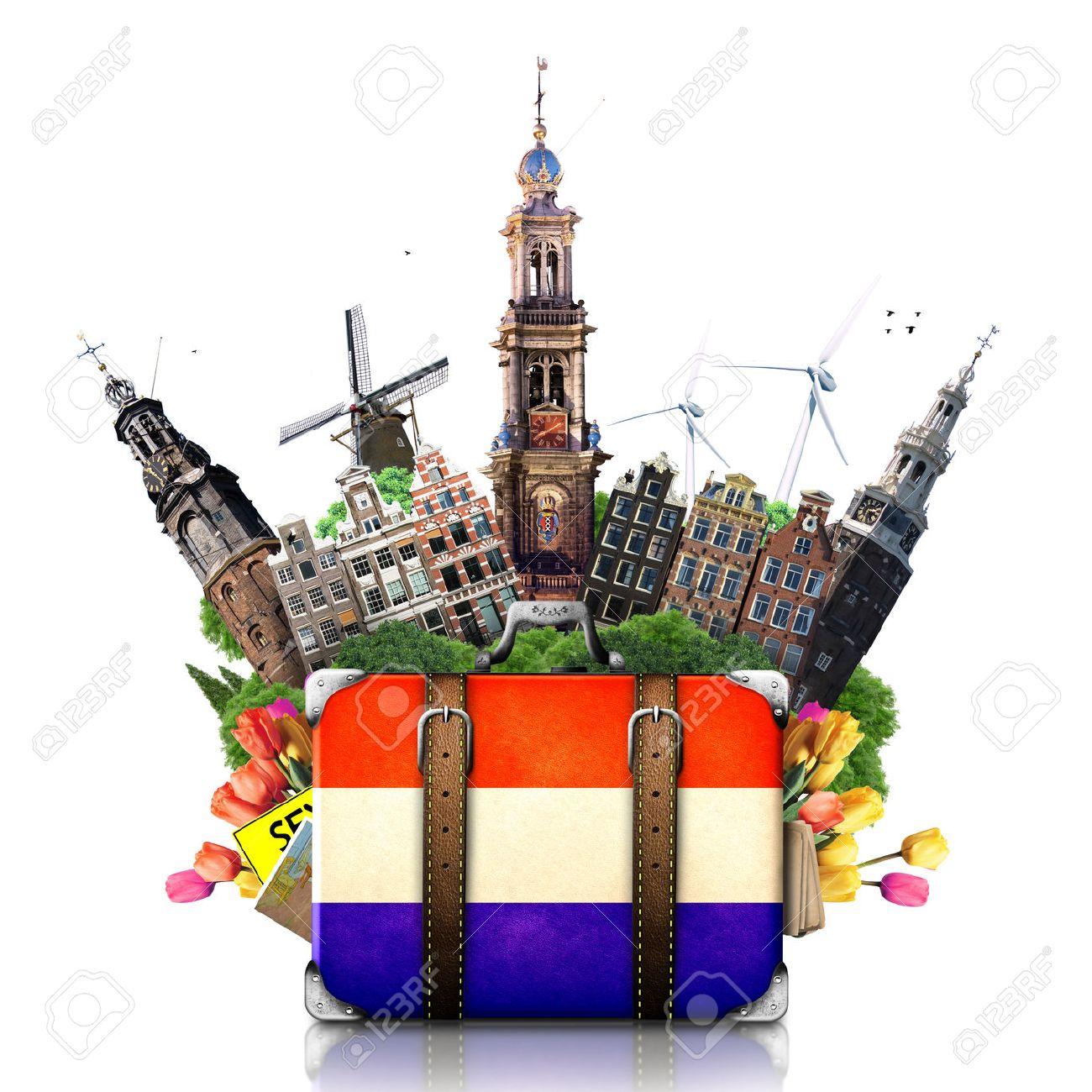 Holland, Amsterdam landmarks, travel and retro suitcase - 27608340
