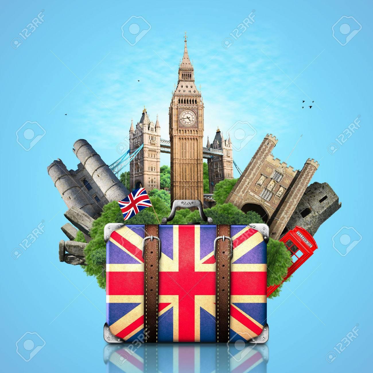 england british landmarks travel and retro suitcase stock photo