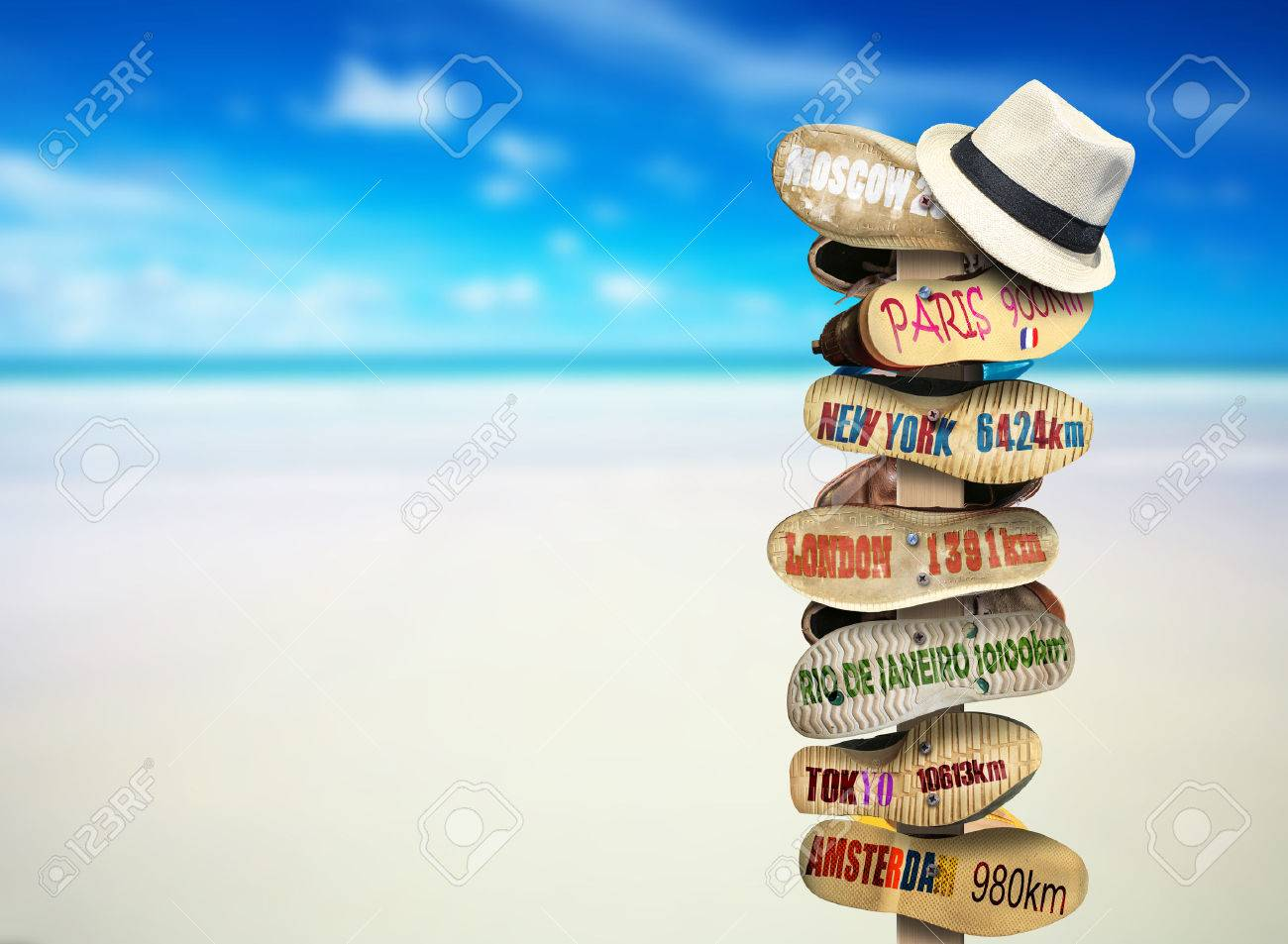 Signpost made of Shoe soles with cities - 42175471