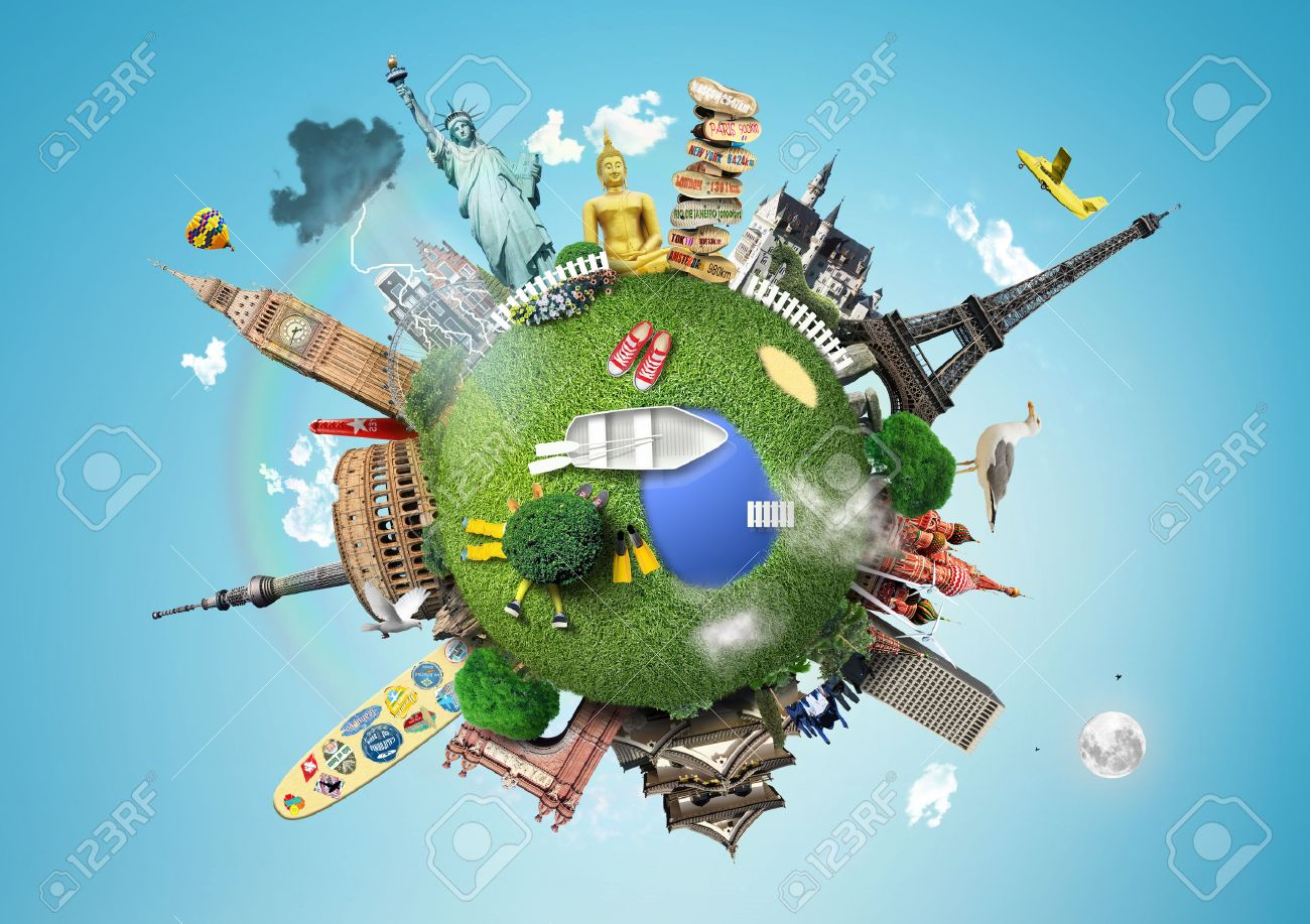 Small planet with landmarks around the world Stock Photo - 45913550