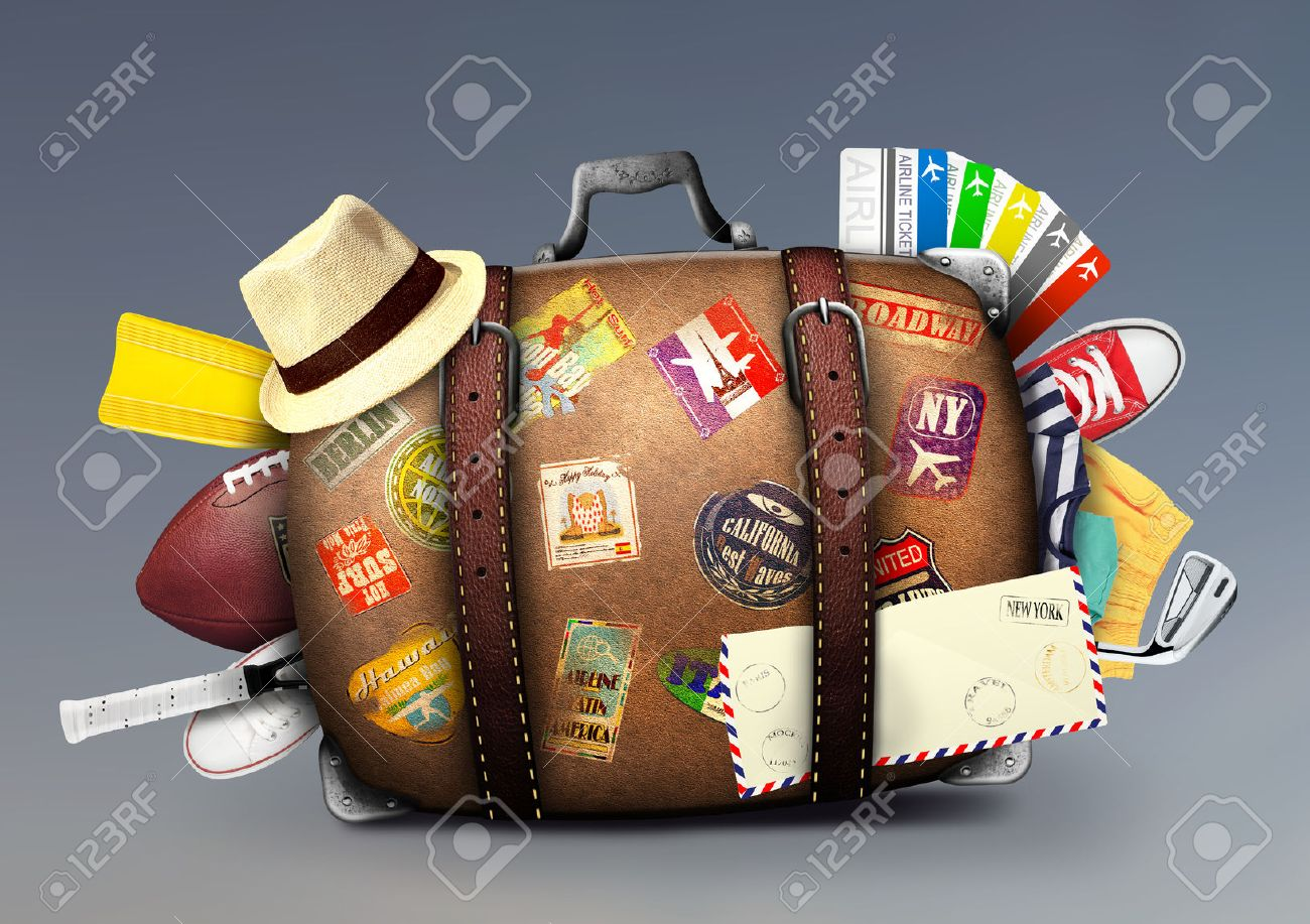 Full suitcase of a traveler with travel stickers Stock Photo - 46099455