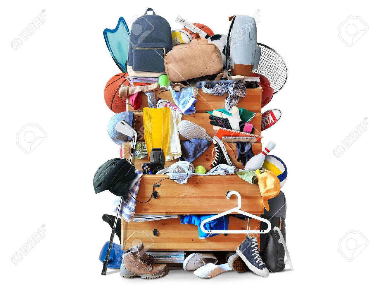 Mess, dresser with scattered clothes, shoes and other things - 50312342