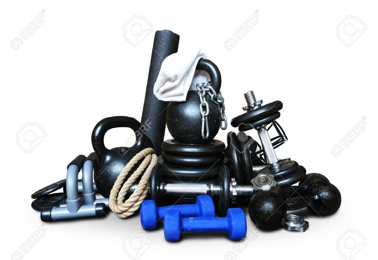 Sports equipment for bodybuilding collected in a heap - 50844824