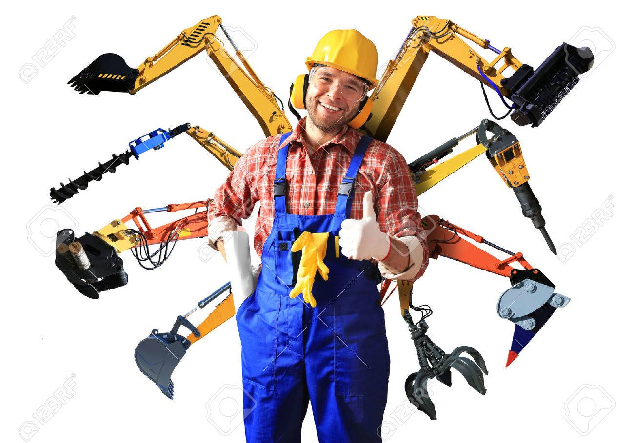 Construction worker in yellow helmet and parts of construction machinery - 50406308