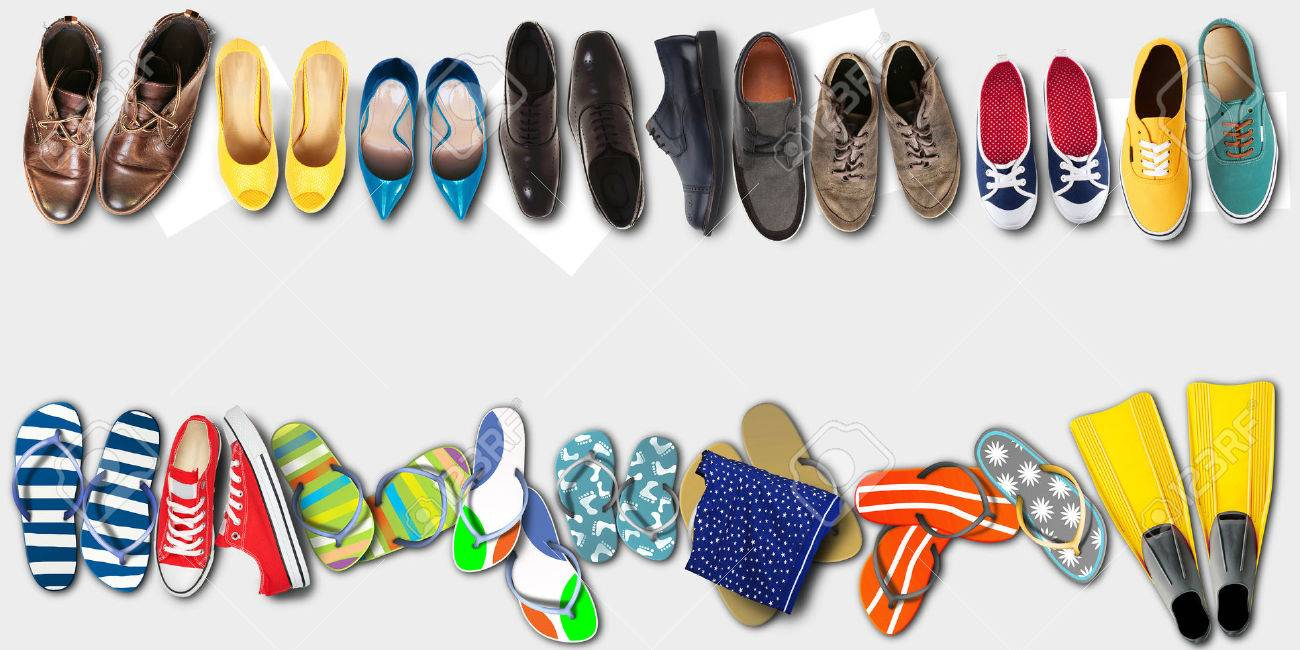 Summer holidays, office shoes colored flip flops, travel - 59197823