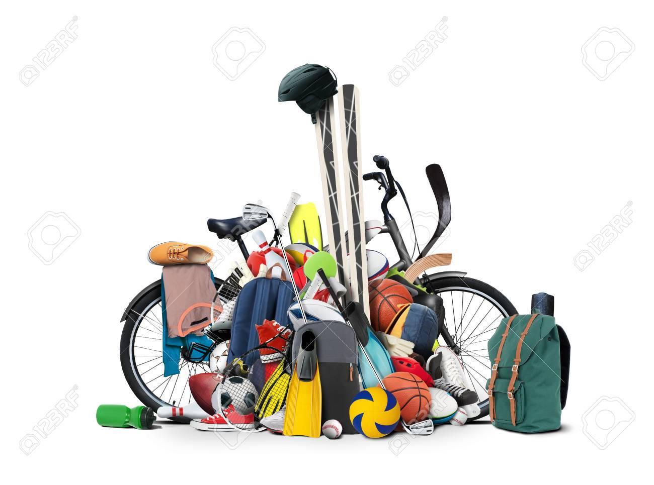 Sports equipment has fallen down in a heap - 60672665