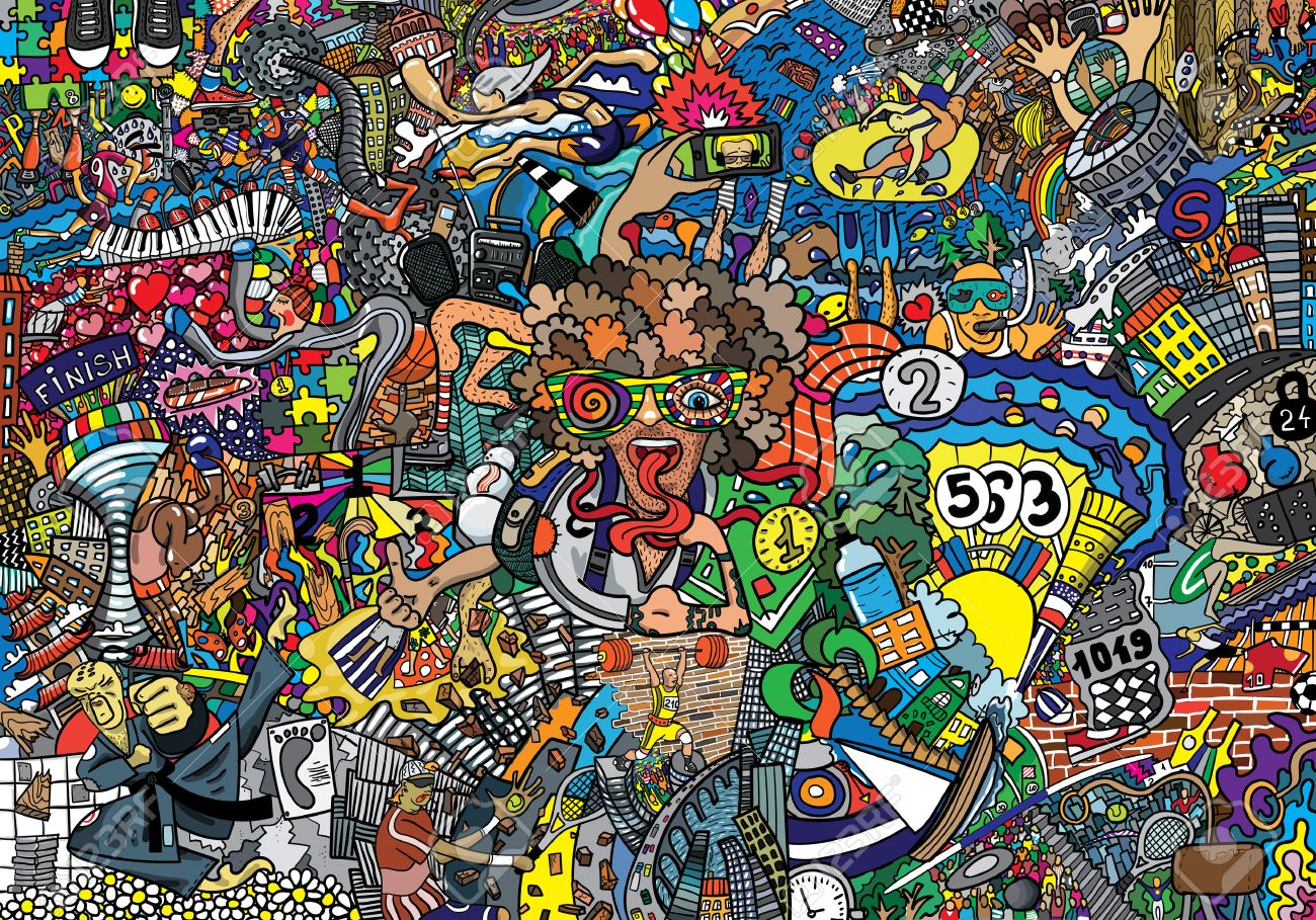 sports collage on a large brick wall graffiti stock photo picture
