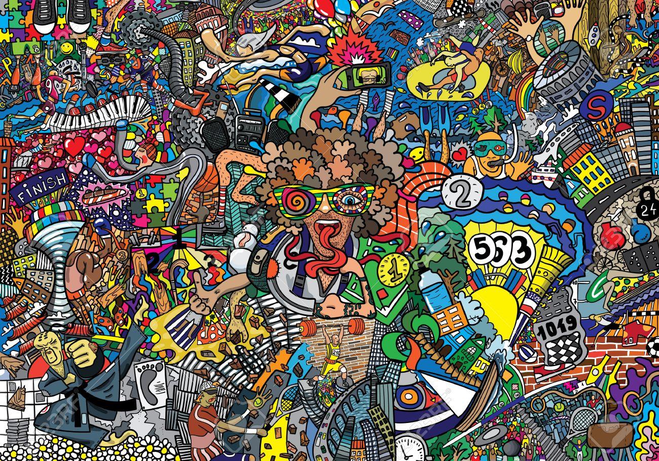 Sports collage on a large brick wall graffiti stock photo 64362878