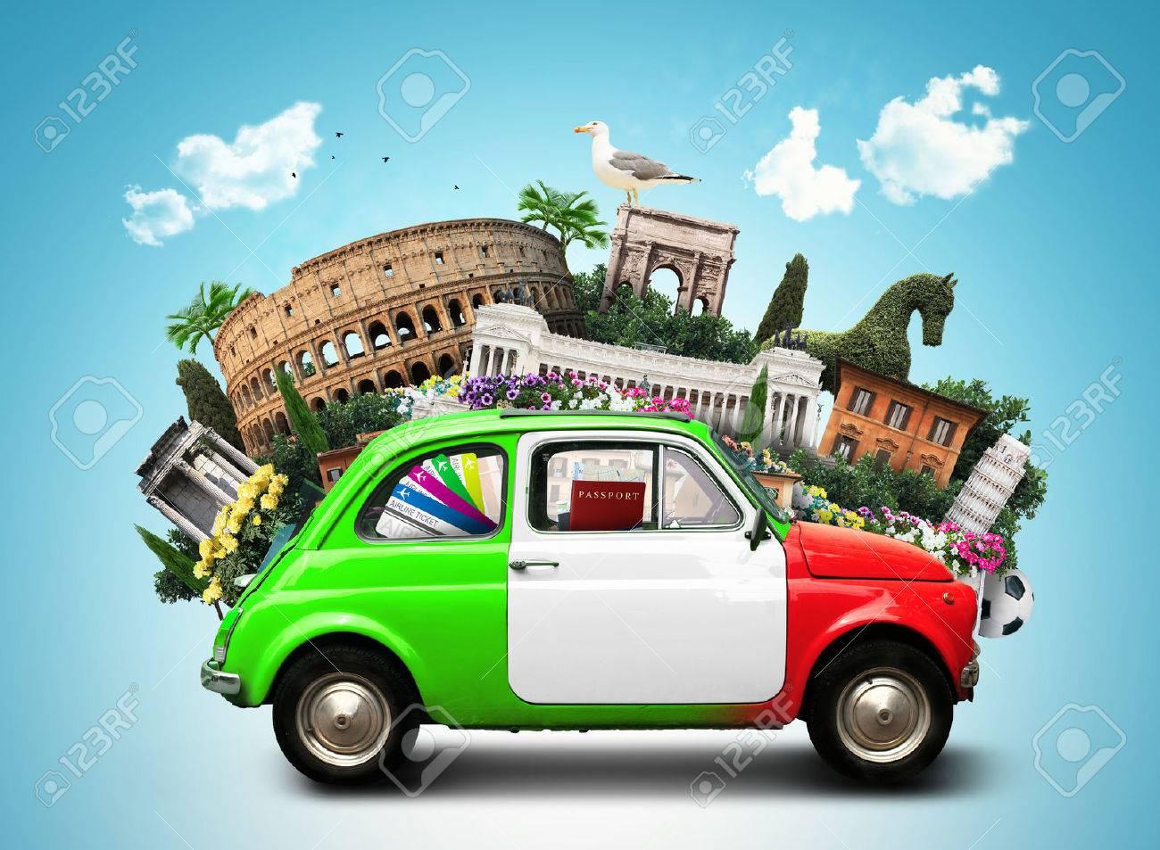 Italy, attractions Italy and retro italian car - 74035564