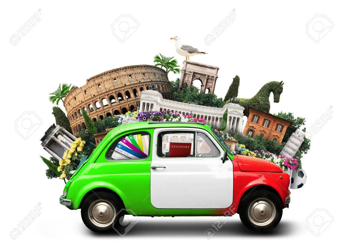 Italy, attractions Italy and retro italian car - 74035565
